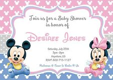 Baby Mickey Minnie Mouse Baby Shower Invitations Print your Own Twins Invite