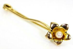 Victorian Pearl set Flower 15ct Yellow Gold Lapel Pin Brooch