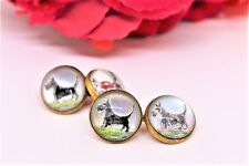 Antique Scottish Terrier Dog Cuff Links, 1920-s Reverse Painted Glass Cuff links
