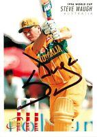 ✺Signed✺ 1996 AUSTRALIA Cricket Card STEVE WAUGH World Cup BBL