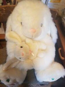 White Plush Rabbit Holding Bunny Easter