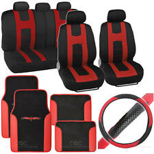 Complete Interior Set Car Seat Cover, Mat & Steering Wheel Cover - Black / Red
