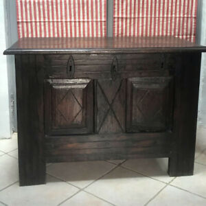 French Antique Oak Coffer / Chest / Blanket Box