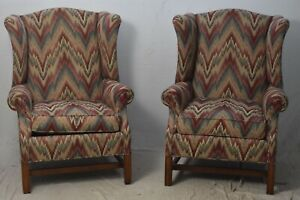 Pennsylvania House Chippendale Style Pair Flame Stitch Wing Chairs Consensus 50