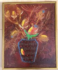 Vintage European Oil Canvas Painting Still Life Flowers In A Vase Signed MN 2000