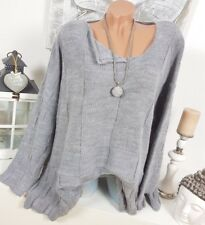 Pull Tricot Extra-Large Hiver Look Destroyed Vintage 44 46 48 50 Douillet Gris