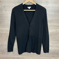 J. Jill Women's Size XSP Petite Button Front Cardigan Sweater Black Long Sleeve