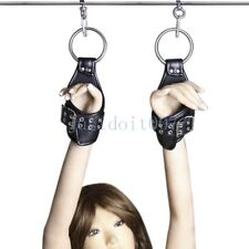 Leather Heavy Suspension Restraint hanging Wrist Hands Arm Binders cuffs harness