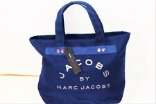 BRAND NEW MARC  BY MARC JACOBS NAVY BLUE CANVAS ZIP TOP TOTE BAG SIZE LARGE