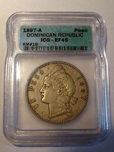 1 Peso Silver Dominican Republic 1897-A ICG XF-45 KM# 16