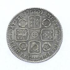 1745 George II .925 Sterling Silver 6d Sixpence Lot F1