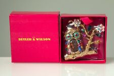 Butler & Wilson Owl on Branch Crystal & Enamel Brooch Sealed Gold Tone