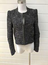 KOOKAI Womens Black & White Tweed Collarless Blazer Jacket - Size 38/ AU 10