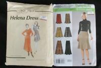 Lot of 2 Women's Dress Patterns Simplicity La Fred Helena Drop Waist Skirt Flare