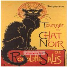"""Lovely Theophile Steinlen Black Cat Chat Noir 6""""/15cm ceramic wall tile trivet"""
