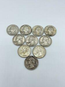 Lot of 10 Washington Quarters Sterling Silver