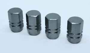 Valve Dust Caps Pack of 4 Alu Caps for Auto Schrader Valve Brand New Grey