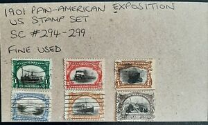 1901 Set of Pan-American Exposition U.S Stamp Set Scott #294-299 Used as shown