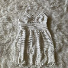 Abercrombie And Fitch White Lace Eyelet Spaghetti Strap Dress Sz L