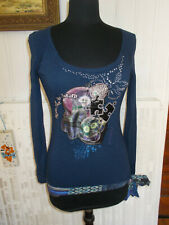 Tee shirt DESIGUAL Panda Never Stop to Dream Top viscose bleu noué S 34/36