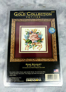 The Gold Collection Petites Dimensions Rose Bouquet 6995 Cross-Stitch Kit New