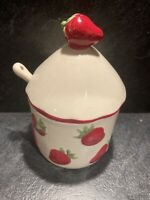 Ceramic Cream Strawberry Jam Lidded Pot With Ceramic Spoon And Strawberry Design