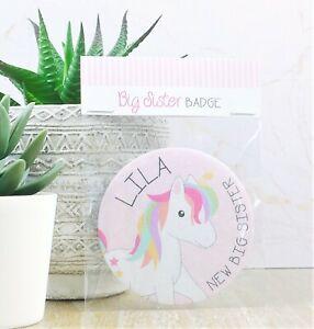 Personalised Unicorn New Big Sister Badge