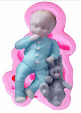 Baby Boy with Stuffed Rabbit Silicone Mold for Fondant Chocolate Crafts