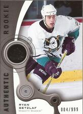 RYAN GETZLAF 2005-06 SP Game Used Authentic Rookie  #/999 Anaheim Ducks