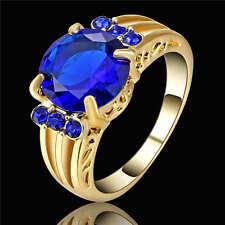 Size 6 Blue Sapphire Big Stone Engagement Ring  Yellow Rhodium Plated Jewelry
