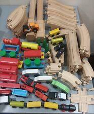 Wooden Railway Train Track Lot 100+ Pieces Straight Curved Bridge Thomas Brio