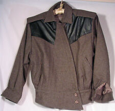 Black leather and gray wool casual jacket