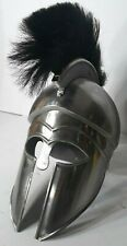 Troy Greek Achilles Trojan Medieval Helmet Armor With Black Plume Closed Face