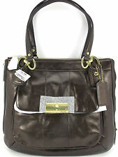 New Coach kristin Metallic Bronze Leather North South Tote Shoulder Bag 23761