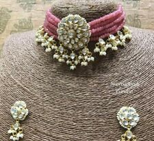 Bollywood Gold Plated Jewelry Indian Pachi Kundan Polki Pink Bridal Necklace Set