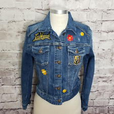 Handmade Womens Las Vegas Golden Knights Flower Patched Hockey NHL Jean Jacket