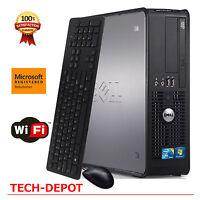 Fast Dell Slim Tower Computer PC Intel Core 2 Duo 4GB RAM 250GB HD Windows 10