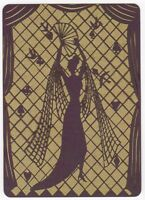 Playing Cards 1 Single Card Old Wide SILHOUETTE Dress Stilettos GIRL LADY Art