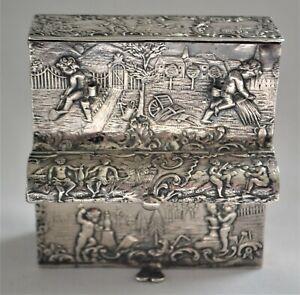 Hanau Silver Figural Cherubs Piano Shaped Cigarette and Match Holder 19th Cent.