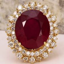 19.26 Carats Red Ruby and Diamond 14K Solid Yellow Gold Ring