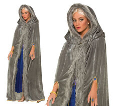 Ladies Grey Faux Fur Trimmed Cape Medieval Game Of Thrones Fancy Dress Outfit