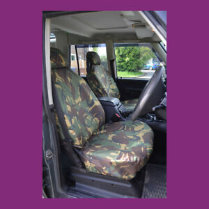 Land Rover Discovery 2 Front NoArmrests Green Camo Waterproof Seat Covers