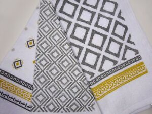 3 x 100% Cotton Tea Towels  Modern Design Geometric. Greys and Golds Great Fun