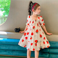Toddler Baby Kids Girls Fashion Strawberry Ruched Princess Dresses Skirt Clothes