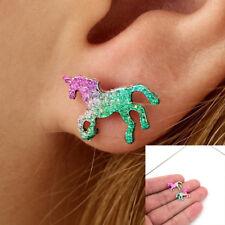 Colorful Cartoons Glitter Unicorn Earring Shiny Horse Studs Unique Accessories