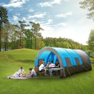 Family Camping Tent 2 Room Waterproof Canopy 10 People Sunshade Quick Set Up Fly