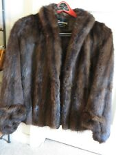 Very Good Condition Mink Fur Cape Wrap Stole Coat Brown Size Medium Early 1960s