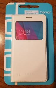 Brand *NEW Huawei White Flip Case for Honor 5X Polyurethane Leather Covering