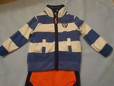 Carter's NWT 12 month Baby Boy SKI PATROL Fleece Cardigan Jacket 3 piece Set