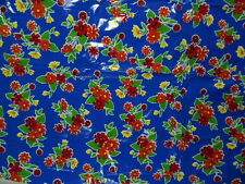 """Cobalt Blue with Multi-colored Floral """"oilcloth"""" from Mexico by 1/2 Yard"""